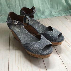 TOMS cork wedge sandal, chambray blue peep toe!